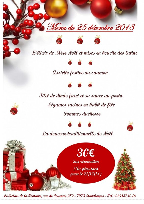 Menu Traditionnel De Noel.Menu Du Jour De Noel Soiree Grandglise Quefaire Be
