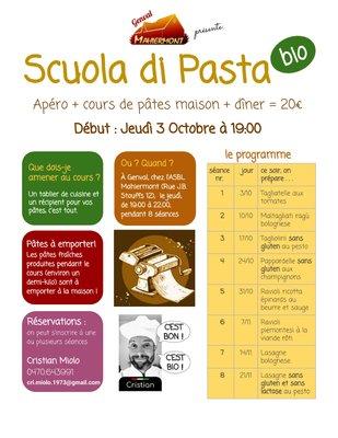 Stages,cours Scuola pasta - cours pâtes maison (sans gluten aussi)