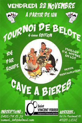 Loisirs Tournoi Belote Cave à Bières 4ème édition