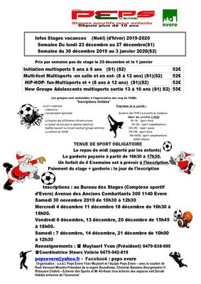 Stages,cours Peps Evere Asbl Infos Stages vacances (Noël )(d'hiver)  -2020