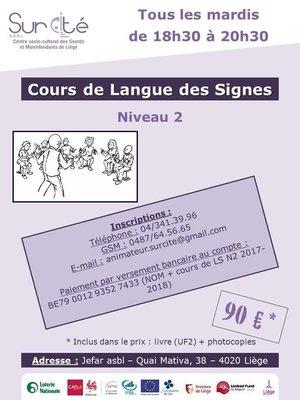 Stages,cours Cours langue signes - année (Niveau 2)
