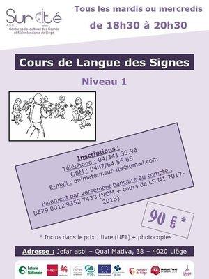 Stages,cours Cours langue signes - année (Niveau - tous mardis