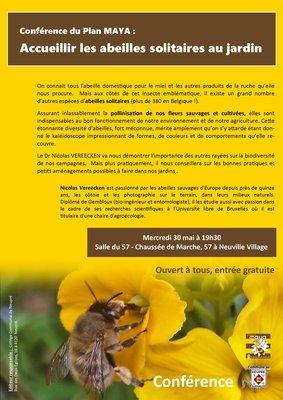 Conférences Accueillir abeilles solitaires jardin