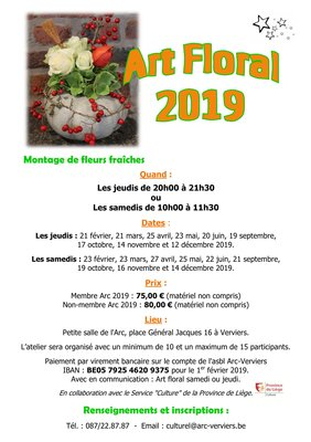 Stages,cours Art floral samedi matin
