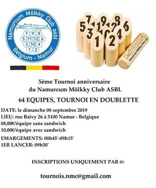 Loisirs MÖLKKY: 5ème Tournoi Anniversaire Namurcum Mölkky Club Asbl