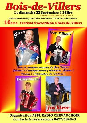Concerts Festival d accordéon avec Gilou, Josiane Martin, Steve & Tillieux :