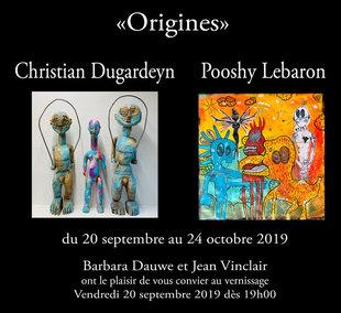 Expositions Expo peinture sculpture  ORIGINES  Pooshy Lebaron Christian Dugardeyn