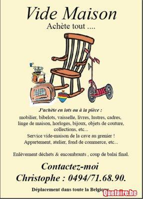 Vide maison grenier appartement 0494/716890