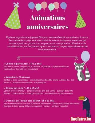 Animations anniversaire Nature et créativité